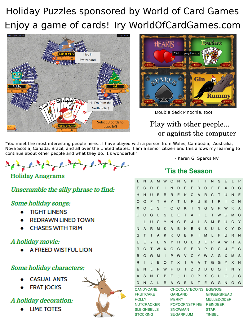 holiday word puzzles