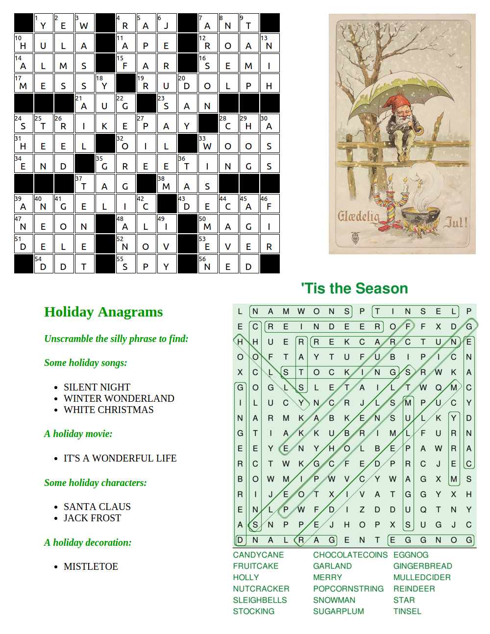 holiday word puzzles solutions